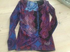 Desigual Damen Longshirt Pullover S schwarz lila bunt Top Shirt Bluse Schleife