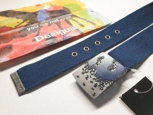 Desigual Canvas Belt blue cotton