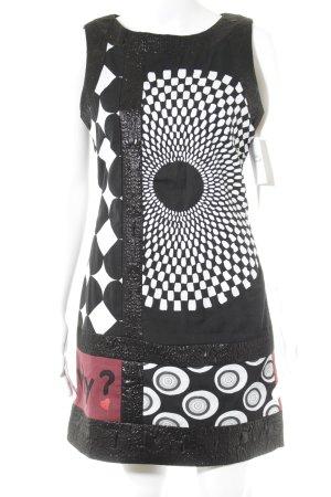 Desigual Etuikleid weiß-schwarz abstraktes Muster Casual-Look