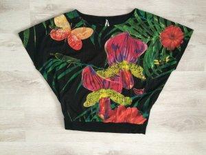 Desigual EUGENIA Shirt Tunika schwarz Blumen Print Pailletten Größe L (42) NEU