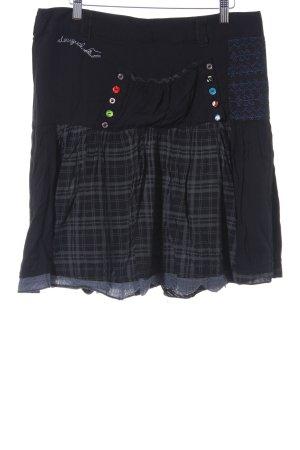 Desigual Jupe évasée noir-bleu Mélange de motifs Aspect de patchwork