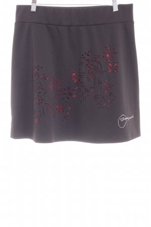 Desigual Falda acampanada negro-burdeos estampado gráfico estilo extravagante