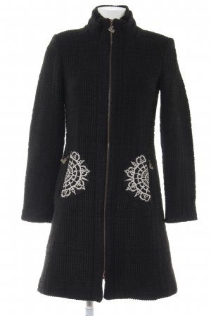 Desigual Coarse Knitted Jacket black-natural white abstract pattern casual look