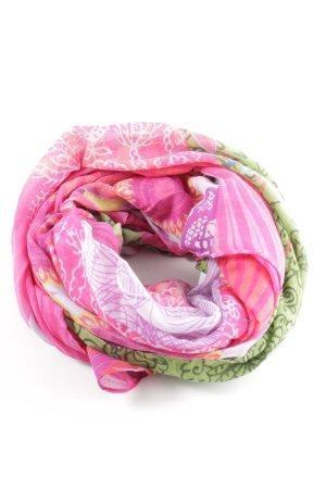 Desigual Fazzoletto da collo rosa-verde Stampa a tema stile casual