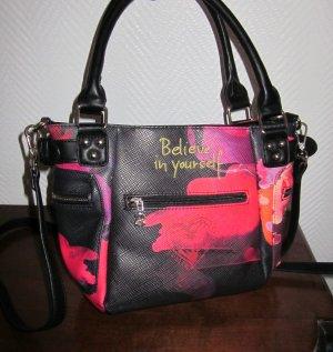 DESIGUAL Handtasche Henkel Tasche Shopper Gurt Bag Print schwarz rot violet NEU
