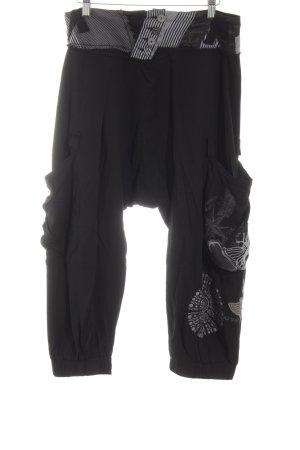 Desigual Pantalón estilo Harem negro-blanco estampado a rayas look Street-Style