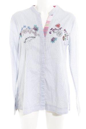 Desigual Hemd-Bluse himmelblau-weiß Streifenmuster Casual-Look