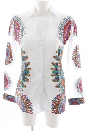 Desigual Hemd-Bluse weiß abstraktes Muster Casual-Look