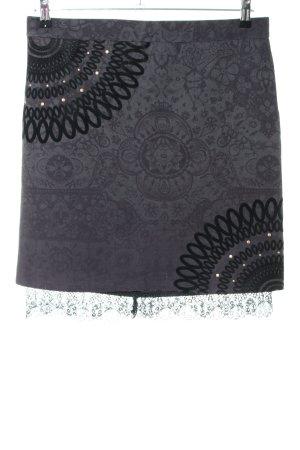 Desigual High Waist Rock silberfarben-schwarz grafisches Muster Casual-Look
