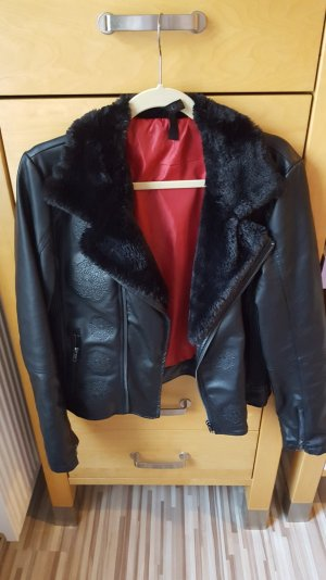 DESIGUAL Jacke mit Kunstfell im Bikerstyle Gr. 38 schwarz wie neu !!!