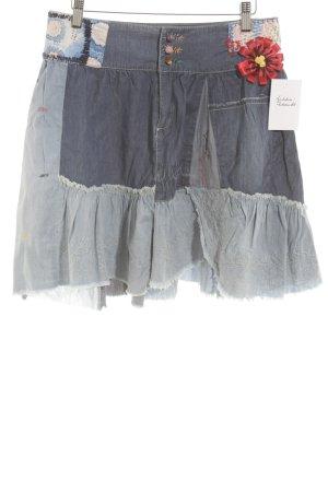 Desigual Spijkerrok donkerblauw-lichtblauw bloemenprint Jeans-look