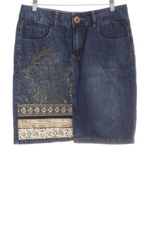 Desigual Jeansrock dunkelblau-goldfarben abstraktes Muster extravaganter Stil