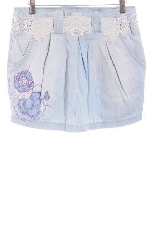 Desigual Jeansrock hellblau Blumenmuster Casual-Look