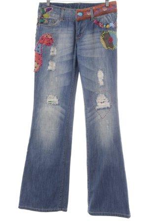 Desigual Jeans a zampa d'elefante blu fiordaliso stile stravagante