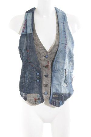 Desigual Spijkervest blauw-donkerrood Patchwork-look