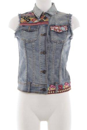 Desigual Denim Vest embroidered lettering casual look