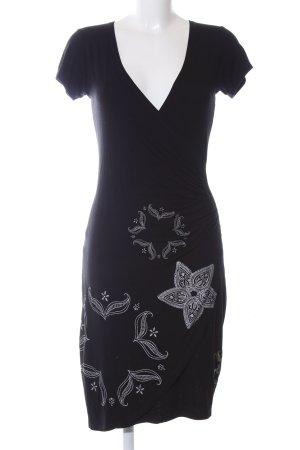Desigual Jerseykleid schwarz-weiß Blumenmuster Casual-Look
