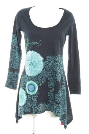Desigual Jerseyjurk donkerblauw bloemenprint casual uitstraling