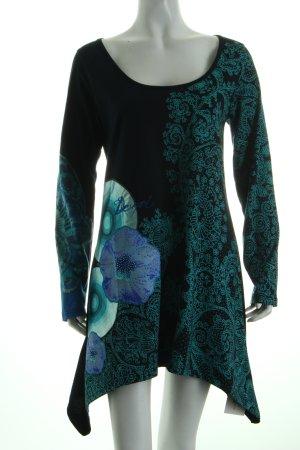 Desigual Jerseykleid schwarz-türkis Ornamentenmuster extravaganter Stil
