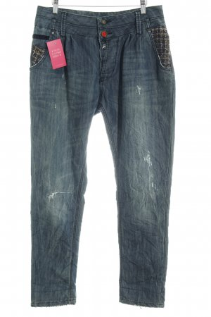 Desigual Carrot Jeans slate-gray material mix look