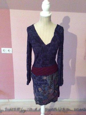 Desigual Vestido de tela de jersey violeta amarronado-azul oscuro