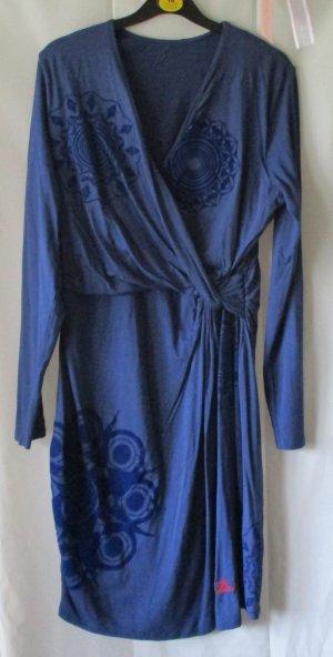 Desigual Kleid blau mit blauem Print, Gr. XL