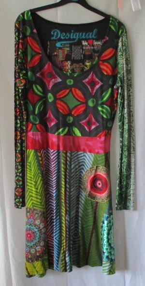 Desigual Kleid, bunt mit Glitzer, Gr. XL
