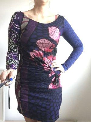 Desigual Kleid, langarmig mit Raffung, blau mit Pinken Blumen