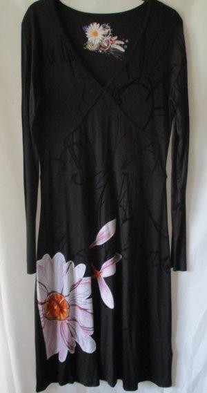 Desigual Kleid schwarz mit Print, Gr. XL