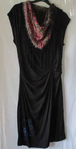 """Desigual Kleid, schwarz, oben mit """"Tuch"""" und Fransen, Gr. XL"""