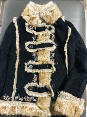 Desigual Fake Fur Jacket dark brown-beige