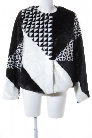 Desigual Kunstfelljacke schwarz-weiß grafisches Muster Casual-Look