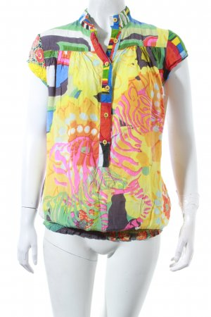 Desigual Kurzarm-Bluse abstraktes Muster extravaganter Stil