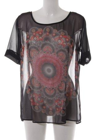 Desigual Kurzarm-Bluse schwarz-rot psychedelic-Muster Casual-Look