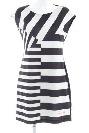 Desigual Kurzarmkleid schwarz-weiß Streifenmuster extravaganter Stil