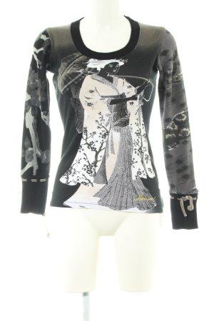 Desigual Short Sleeve Sweater black-natural white themed print