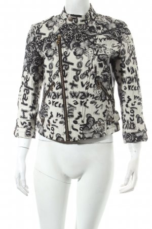 Desigual Short Jacket black-oatmeal abstract pattern extravagant style