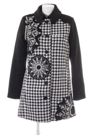 1f2f8207273 Desigual Abrigo corto negro-blanco estilo «business»