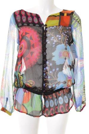 Desigual Langarm-Bluse abstrakter Druck Casual-Look
