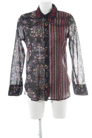 Desigual Langarm-Bluse schwarz Blumenmuster Boho-Look