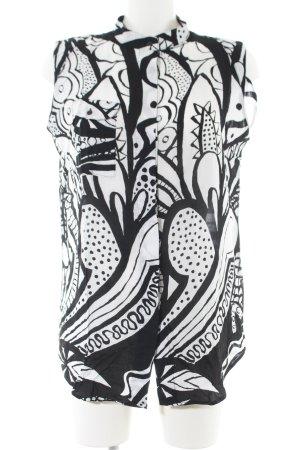 Desigual Langarm-Bluse schwarz-weiß abstraktes Muster Casual-Look