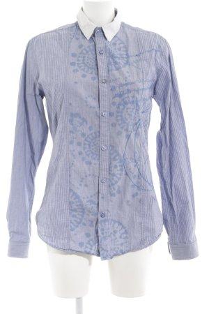 Desigual Langarmhemd blau-weiß abstraktes Muster Business-Look