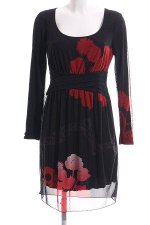 Desigual Langarmkleid schwarz-rot Blumenmuster Elegant