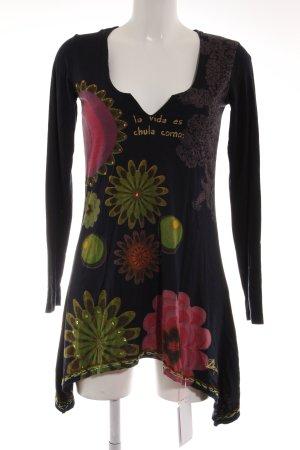 Desigual Langarmkleid dunkelblau-rot Blumenmuster extravaganter Stil