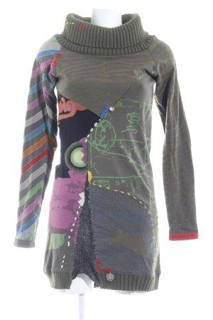 Desigual Langarmkleid grüngrau-khaki abstraktes Muster Street-Fashion-Look