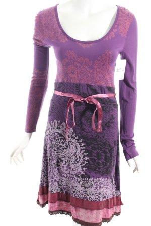 Desigual Langarmkleid lila-dunkelviolett florales Muster Street-Fashion-Look