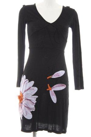 Desigual Langarmkleid schwarz Blumenmuster extravaganter Stil