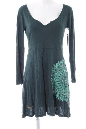 Desigual Langarmkleid waldgrün-hellgrün Blumenmuster Hippie-Look