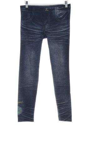 Desigual Leggings gris pizarra-azul pálido estampado temático