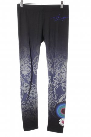 Desigual Leggings schwarz-lila abstraktes Muster Casual-Look